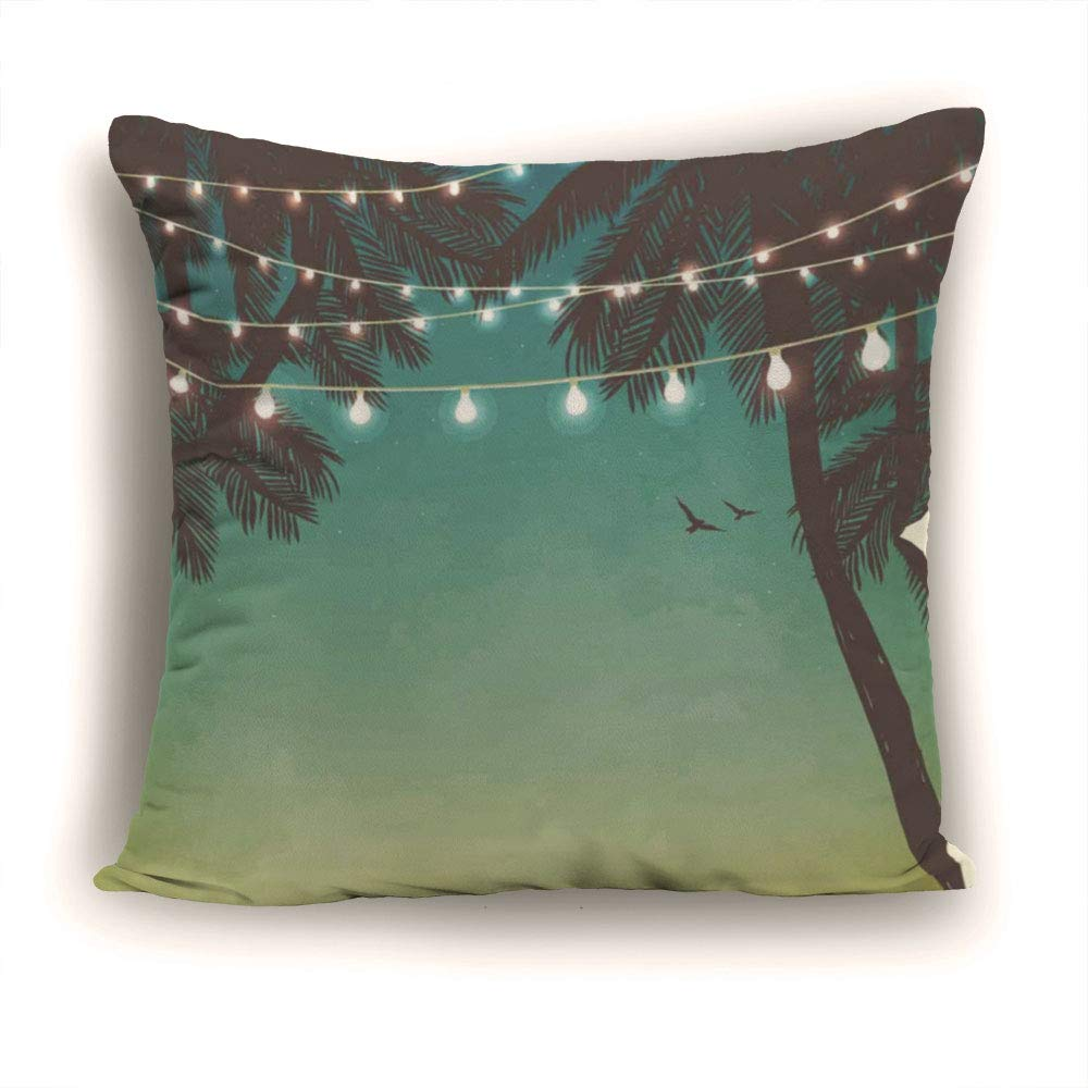 Throw Pillow Covers,Decorative Pillowcases Polyester 11.81 x 11.81 Inch Square Pillowcase Hidden Zipper,Apartment Decor,Night Time Beach Sunset with Little Lantern and Island Palm Trees Art Print