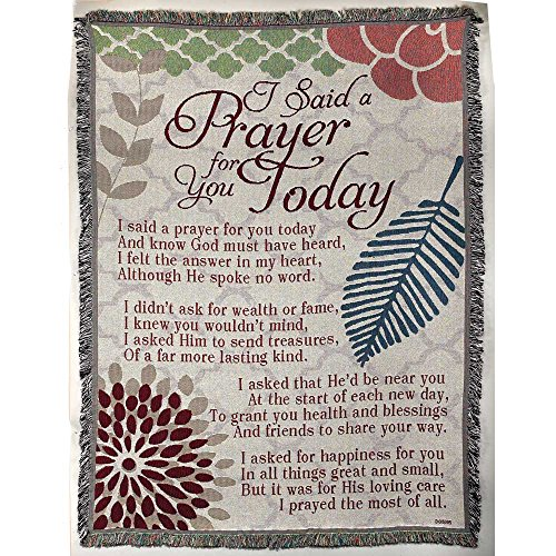 Dicksons Said a Prayer for You Botanical 52 x 68 All Cotton Tapestry Throw Blanket