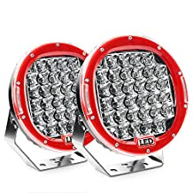 Nilight 2PCS 96w 9 Inch Red Spot Round Led Work Light Bar Off Road Lights Fog Driving Roof Bar Bumper for SUV Boat Jeep Lamp, 2 years Warranty