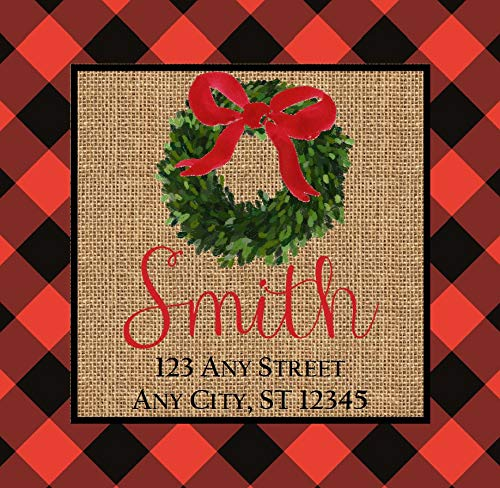 bels Red Black Buffalo Check Burlap Wreath Square Stickers Address Labels 2.5 Inches with 15Pcs ()