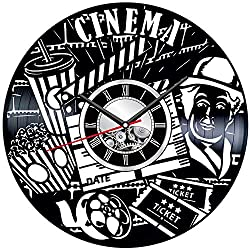 Cinema Charlie Chaplin Wall Clock Made of Vinyl Record - Stylish Clock and Amazing Gifts Ideas - Unique Home Decor - Personalized Presents Men Women Kids - Great Wall Art Living Room Bedroom Kitchen
