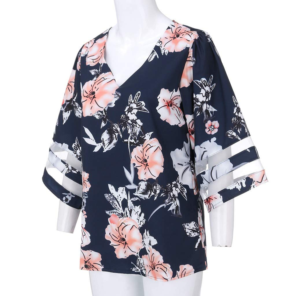 Womens V Neck Blouse Chiffon Floral Mesh Panel Beach Tops 3//4 Bell Sleeve Summer Casual Loose T-Shirt