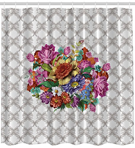 Ambesonne Vintage Flower Bouquet Washable Polyester Fabric Print Shower Curtain, Exclusive to (Vintage Print Fabrics)