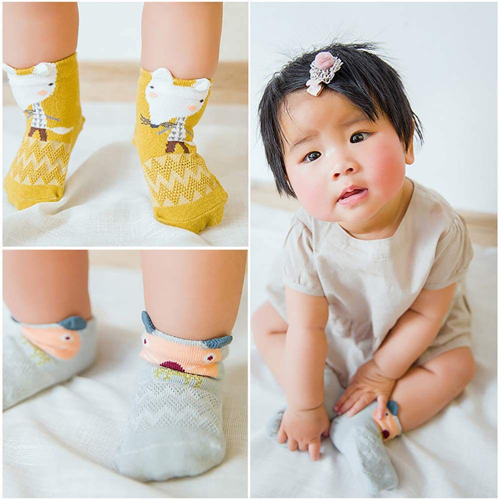 AkoMatial Cotton 5 Pairs Toddler Baby Boy Girl Anti-slip Sock Lovely Cartoon Animal Design Socks