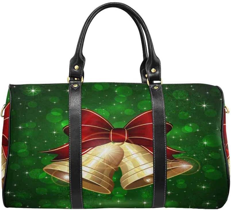 InterestPrint Unisex Duffel Bag Carry-on Bag Overnight Bag Weekender Bag Christmas Bells