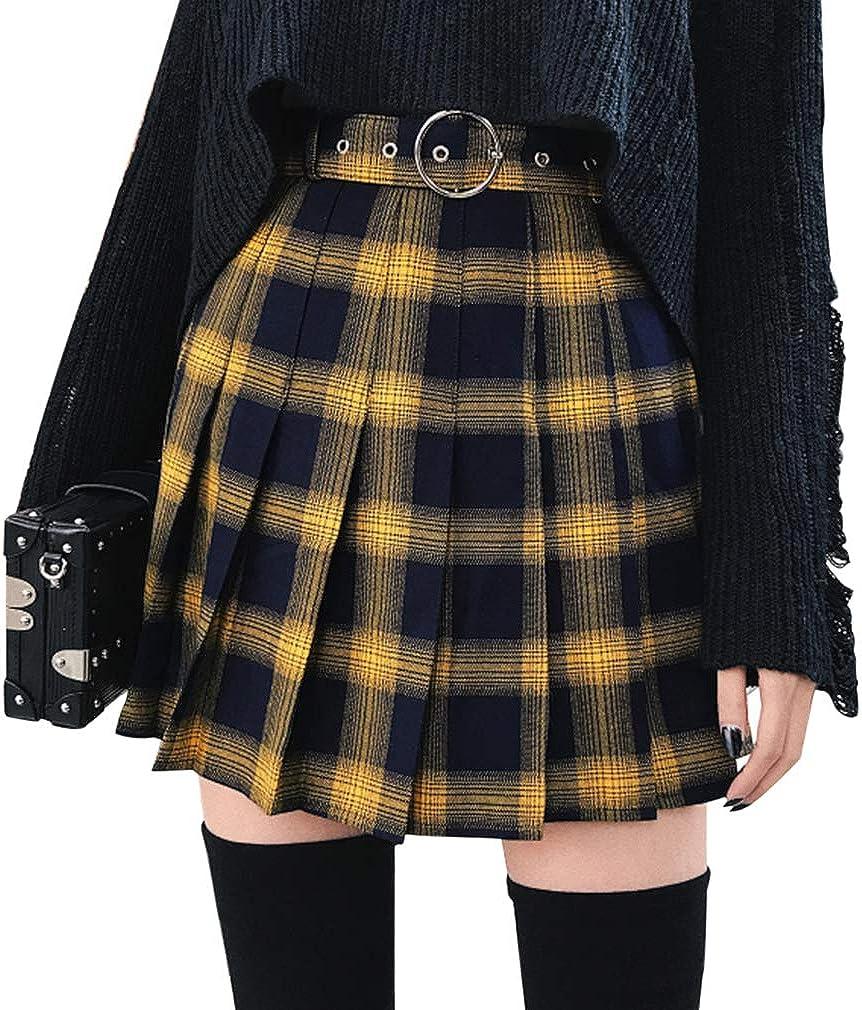 Mcaishen La Falda Plisada de Las Mujeres de Cintura Alta era Delgada Falda a Cuadros Amarilla Versión Coreana de la Universidad Falda Plisada Viento Una Falda de Tenis de Palabra