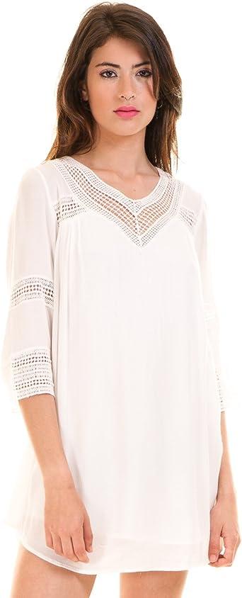 Vila Vestido ibicenco Blanco vicarrie Clothes (XS - Blanco): Amazon.es: Ropa y accesorios