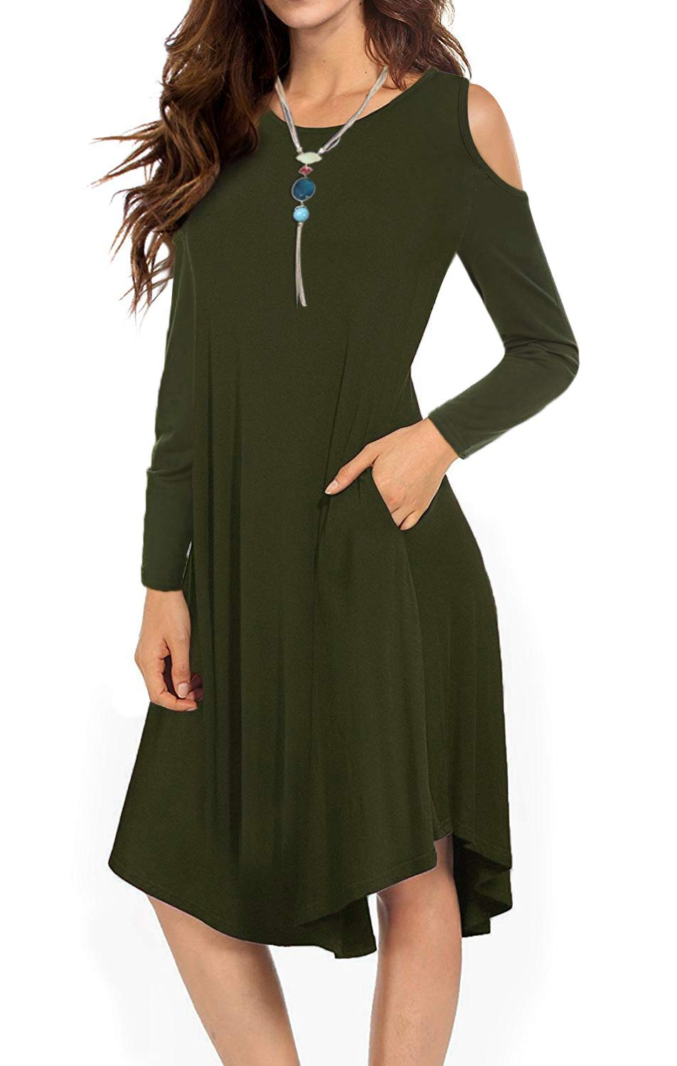 VERABENDI Women's Casual Cold Shoulder Midi Dress Long Sleeve Swing Dress with Pockets Army Green Small