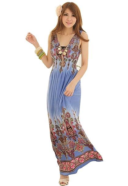 e1a6e6acd7e529 Z Blume Blumen Damen V-Ausschnitt Ärmellose Sexy Lange Maxi Strandkleid  Hawaiian Damen