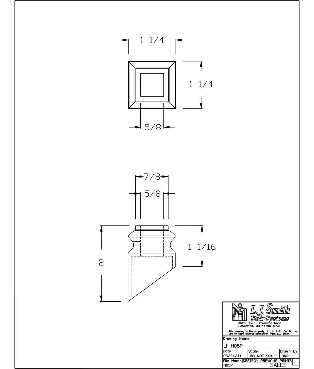 LI-H05P-SB: Iron Pitch Shoe for 9/16'' Solid Square Iron Balusters (Satin Black)