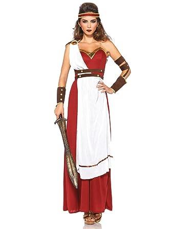 Romano Kriegerin Toga vestido para mujer Disfraz Rojo Blanco Marrón