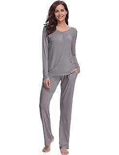 8053e21e7 Abollria Pijamas Mujer Algodon Ropa de Domir Elegante Manga Pantalon Largos