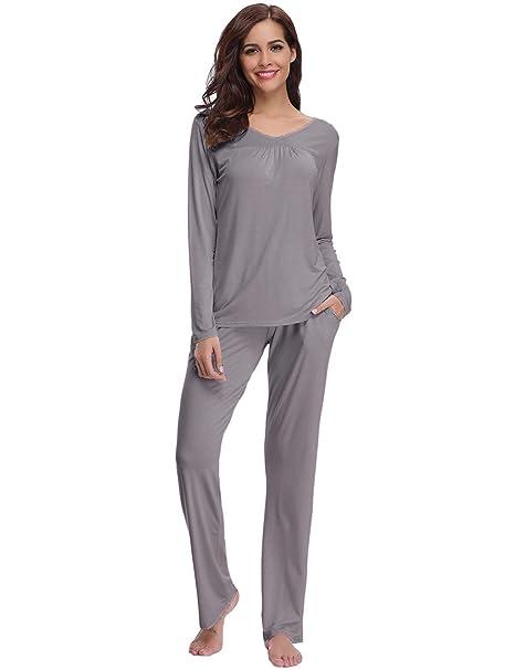5be71b833a Abollria Pijamas Mujer Algodon Ropa de Domir Elegante Manga Pantalon Largos   Amazon.es  Ropa y accesorios