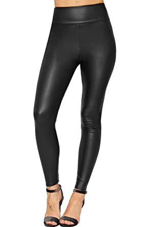 02113bc301bed WearAll Women's High Waisted Faux Leather Wet Look Leggings Ladies Stretch  Jeggings - Black - 12