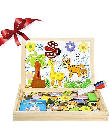 InnooBaby Puzzles Rompecabezas Magnética 100 Piezas Pizarra Juguete Educativo Dibujo Placa de Madera Pizarra Multifuncional para