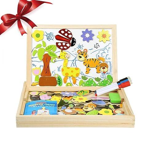 InnooBaby Puzzles Rompecabezas Magnética 100 Piezas Pizarra Juguete Educativo Dibujo Placa de Madera Pizarra Multifuncional para Niños Más de 3 Años