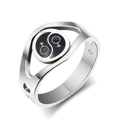 Hochzeit Ringe Damen Ring Edelstahl Tai Ji 3 8mm Weiblich Symbol