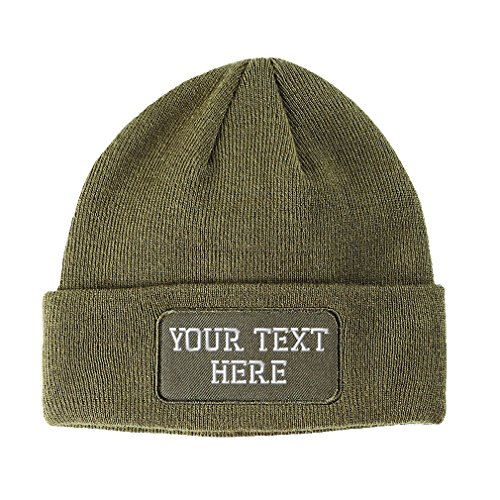 Personalize Your Custom Text On Unisex Adult Acrylic Double Layer Patch Beanie Skully Hat - Olive Green, One Size ()