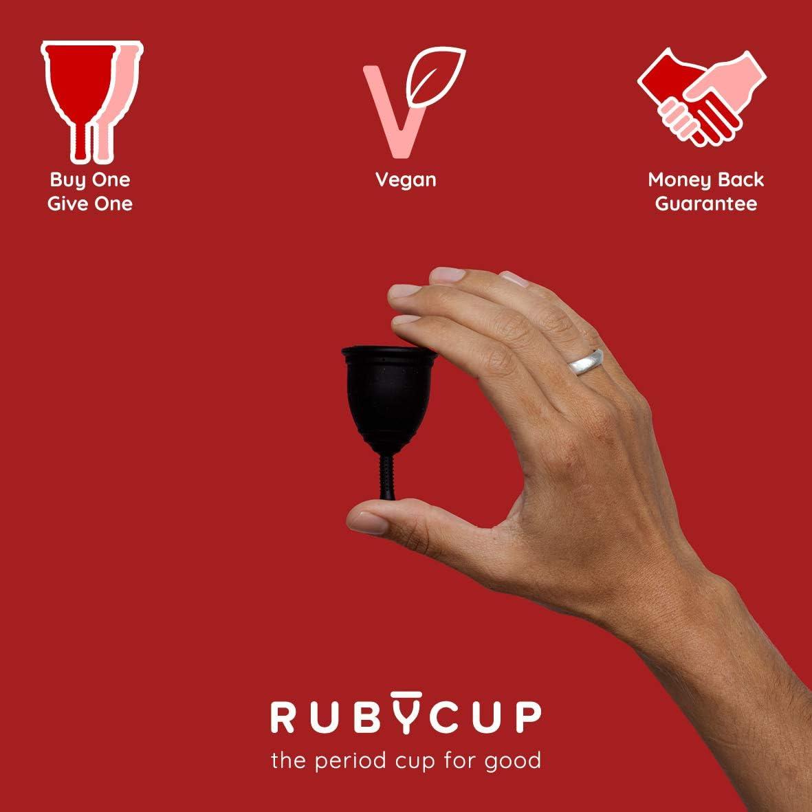 Ruby Cup - Copa menstrual hipoalergenica - talla S (pequeña, flujo ligero) – NEGRA – Incluye donación de copa. Perfecta para principiantes. Una ...