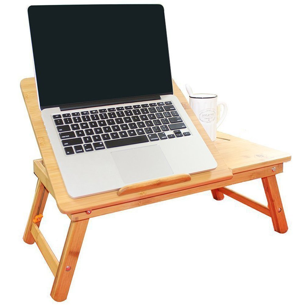 Leather Saddler LS Laptop Desk Super Top Laptop Table with Real Fan 100% Bamboo Desk Adjustable with USB Fan2 Foldable Breakfast Serving Bed Tray Drawer