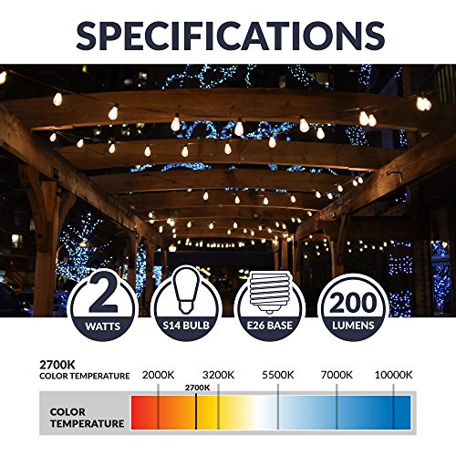 Newhouse Lighting S14LED18 Outdoor Weatherproof Shatterproof S14 String Light Bulbs, 18-Pack, Glass, 18 Clear