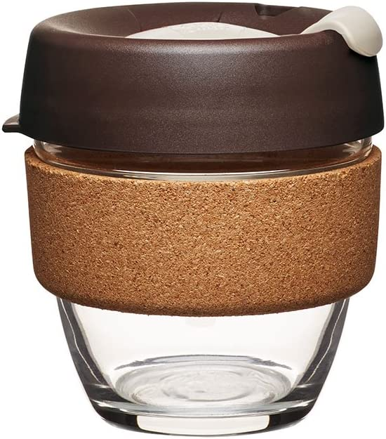 MorningYe KeepCup Brew Reusuable Glass Coffee Cup Mug with Cork Band 340ml 12oz Espresso