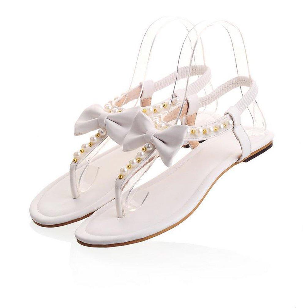 Sandalias Planas Zapatos De Playa Tanga Casual Mujer Verano Dedo Del Pie Abierto Flip Flop Zapatillas De La Correa Del Tobillo,White,40 40|White