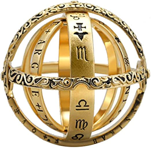 Vintage Bronze Globe Telescope Celebrity Chain Long Pendant Charm Party Necklace
