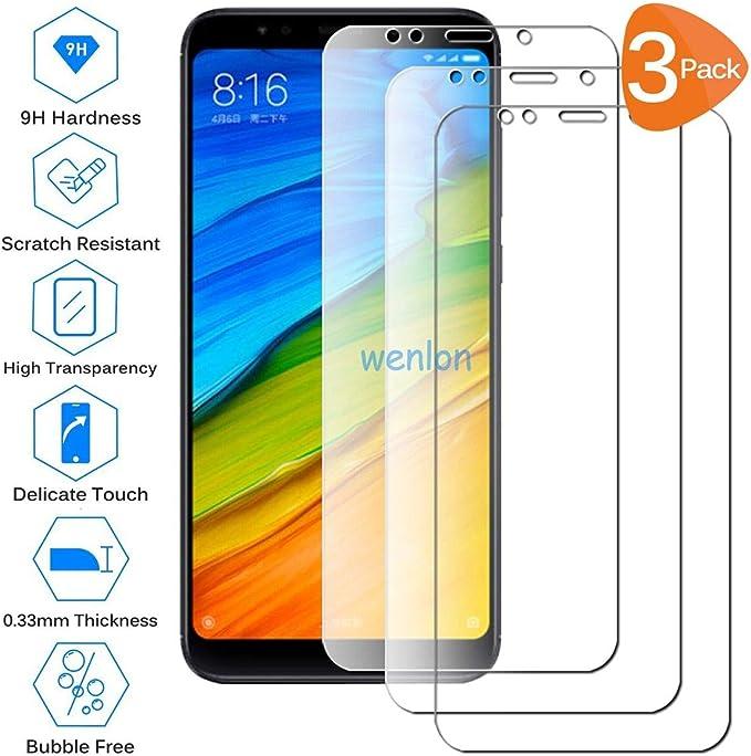 Wenlon [3 Unidades Adecuado para Xiaomi Redmi 5 Plus, Pantalla HD de Cristal Templado 9H de dureza, película Protectora de Vidrio Templado, protección contra rayones: Amazon.es: Electrónica
