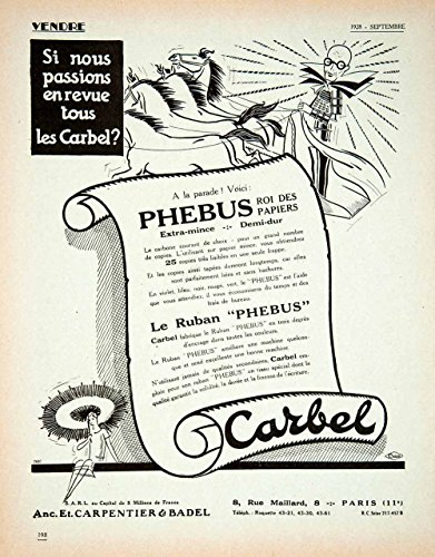 1928-lithograph-ad-french-carbel-phebus-typewriter-ribbon-carpentier-badel-ven5-original-lithograph-