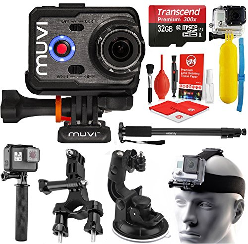 VEHO MUVI K-Series K2 Pro 4K Wi-Fi Sports Action Camera with 32GB + Monopod + Stabilizing Hand Grip + LCD Screen + Case + Floating Grip + Head Strap + Bike Mount VCC-007-K2PRO