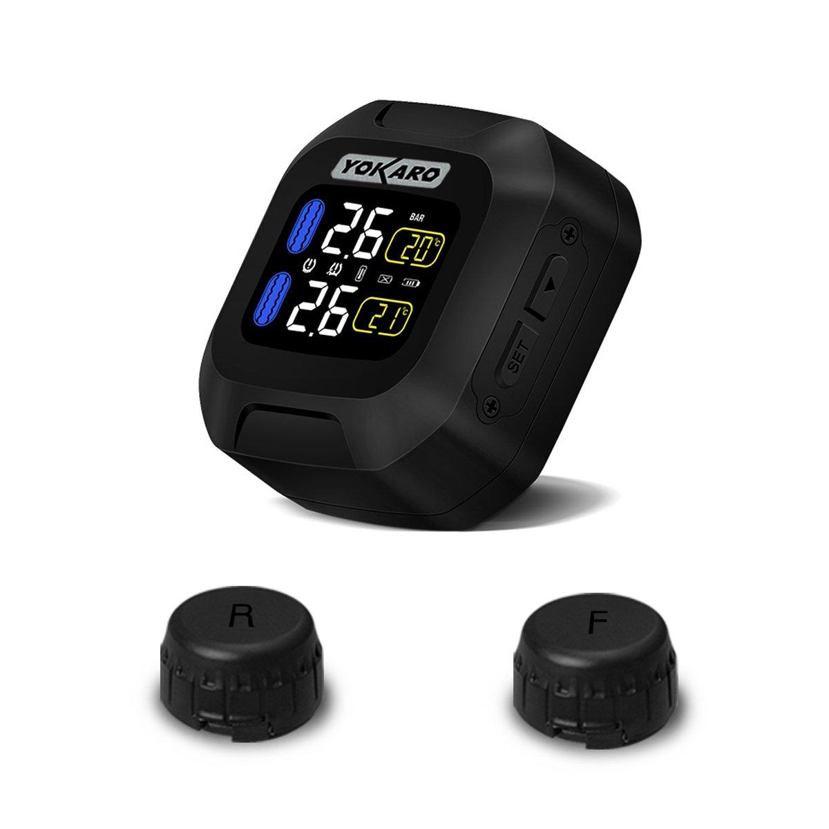 FULLELE Wireless Waterproof Tire Pressure Monitoring System (TPMS) for Motorcycle, 2 External Sensors