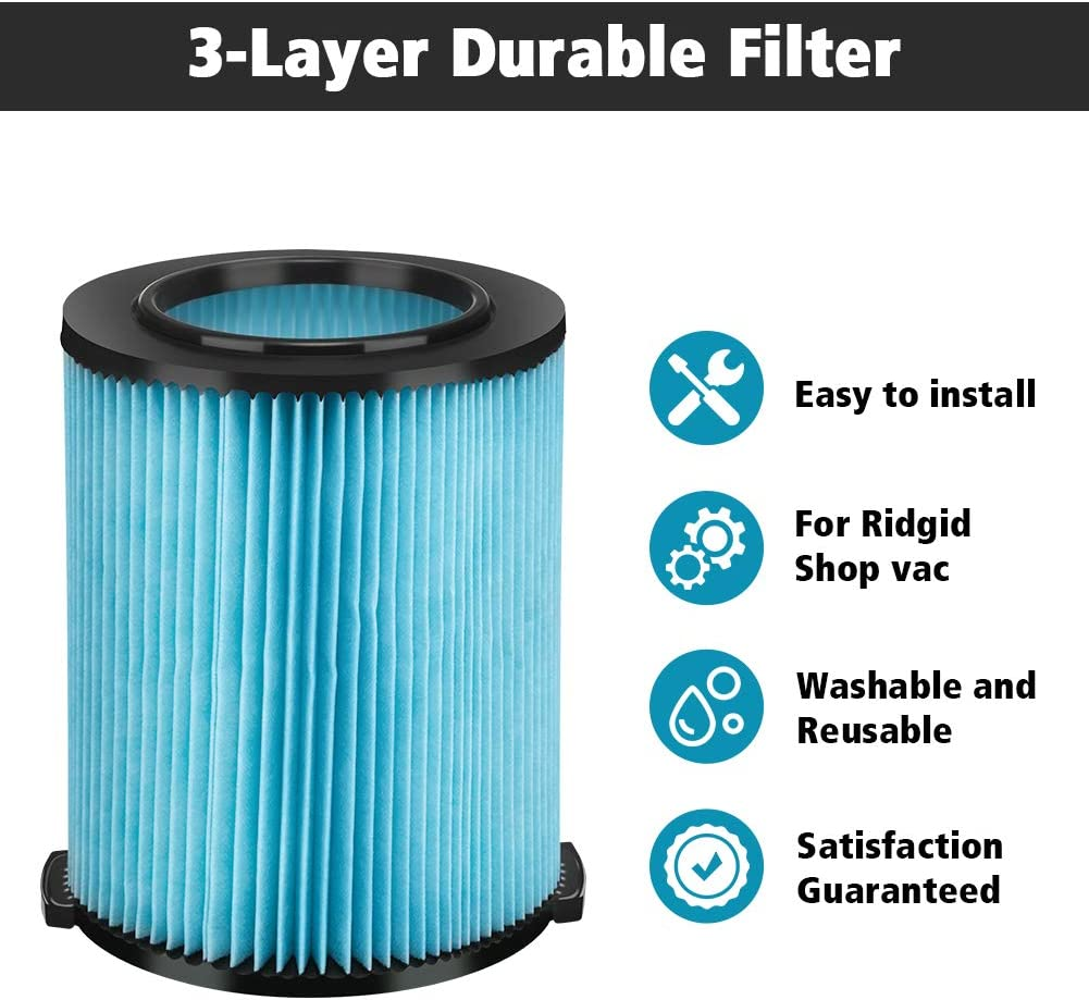 Ridgid VF5000 3-Layer Pleated Paper Fine Dust Vacuum Filter--Pack of 2 PCS!!