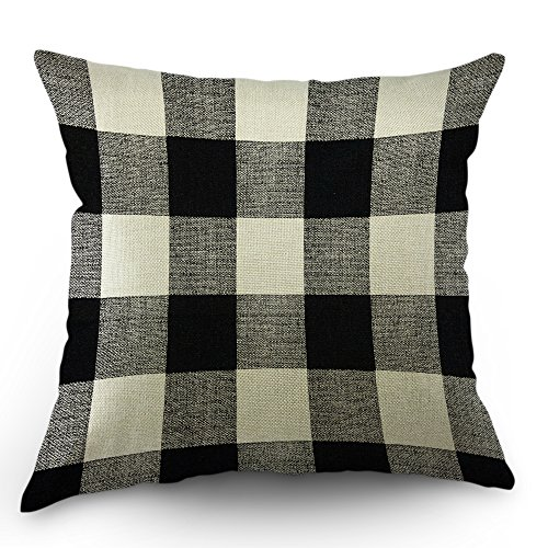 Pillow Checkered (Moslion Checkered Pillows Vintage Farmhouse Plaid Decorative Pillows Lattice Gingham Pillow Cases 18x18 Inch Cotton Linen Cushion Cover for Happy New Year Sofa Bed Black White)