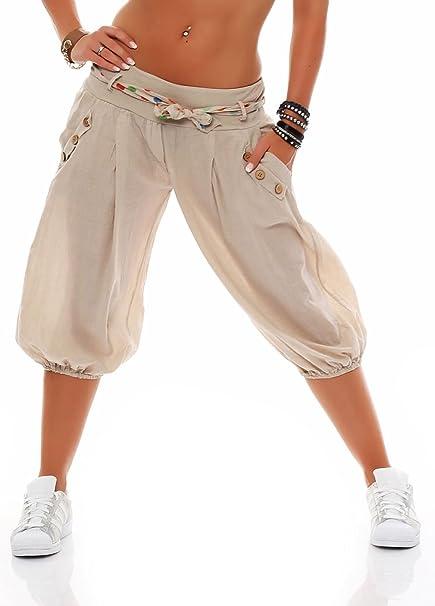 75ec363ffdf4 Malito Breve Pump Pantaloni con Cintura Boyfriend Aladin Sbuffo Pantaloni  Baggy Yoga 3416 Donna Taglia Unica