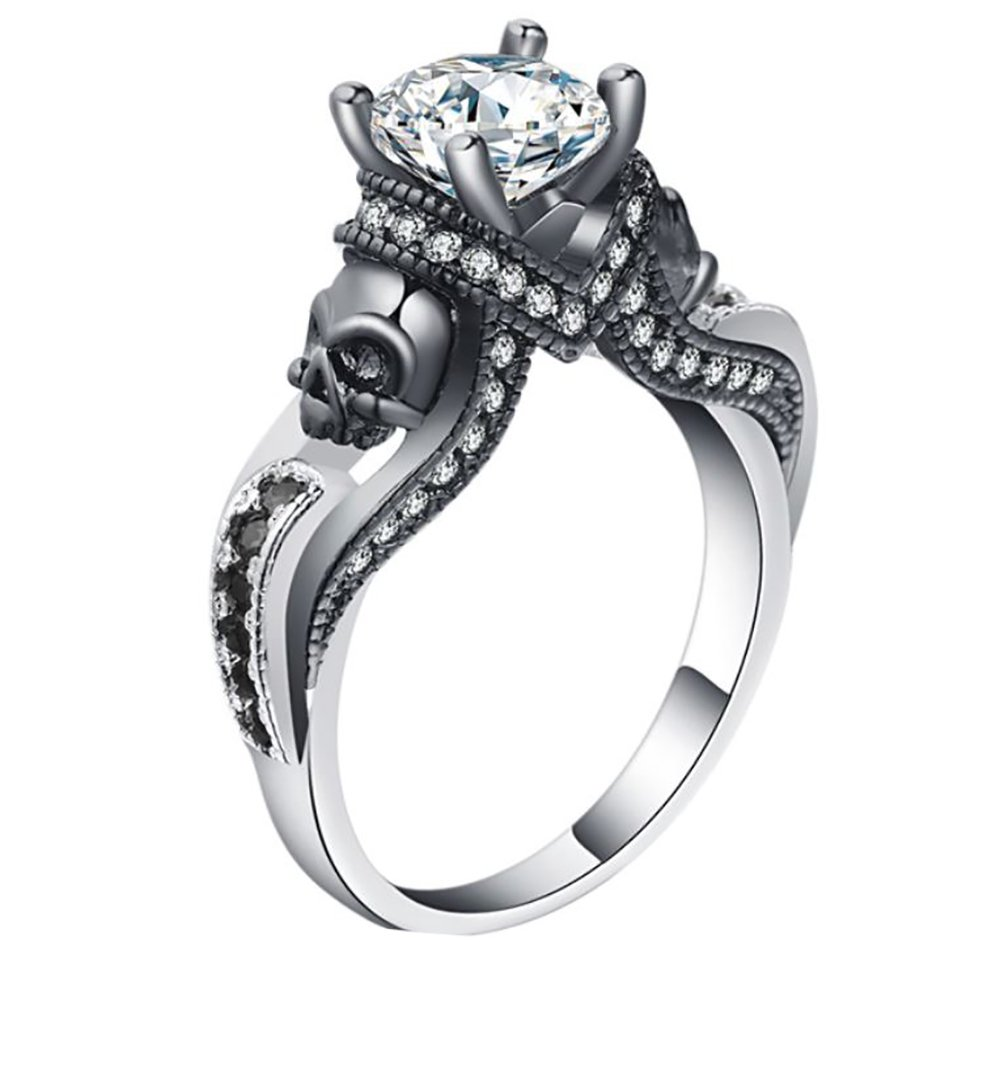 Ginger Lyne Collection Chasity Black Skulls Goth Style Engagement Ring