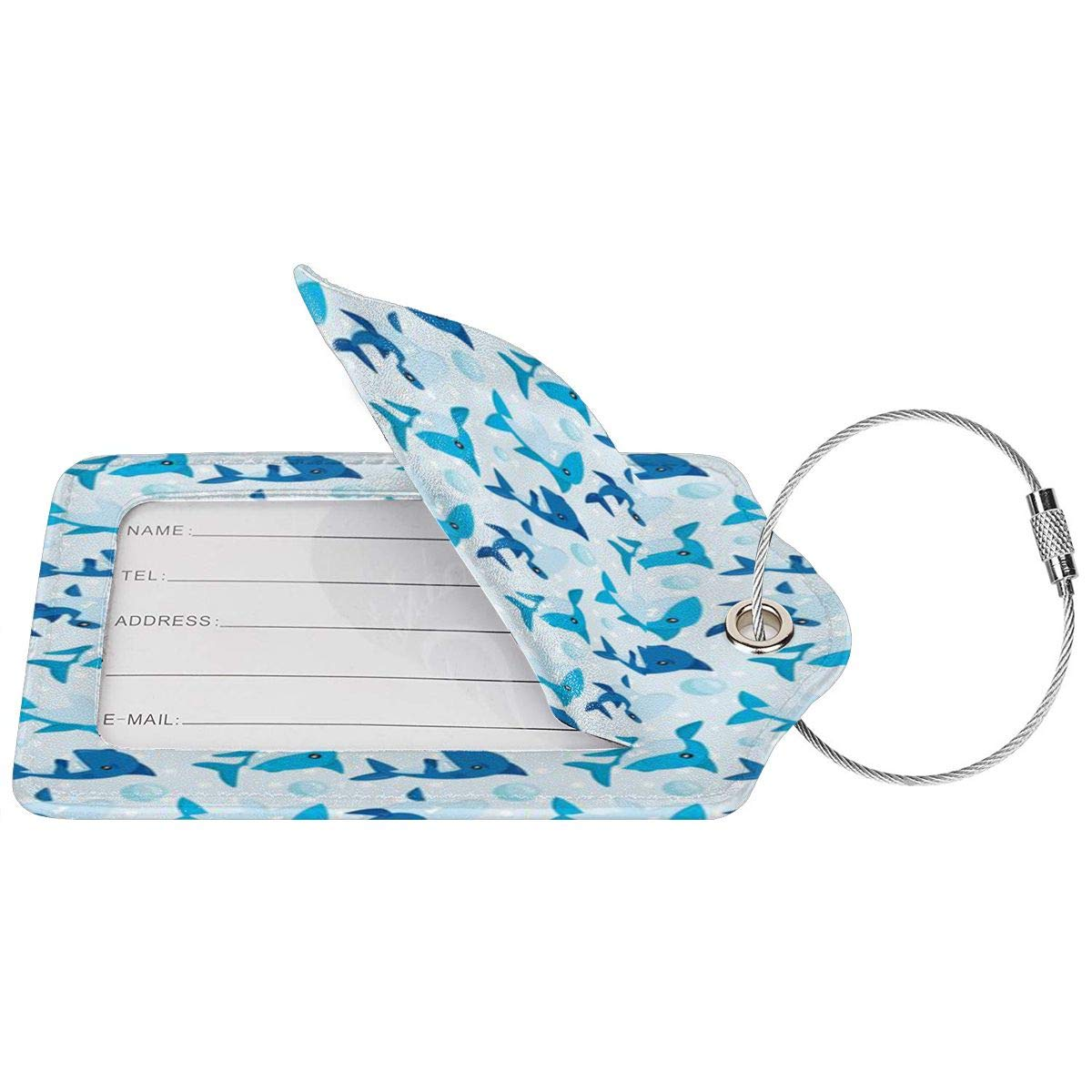 Hawaiian Print Luggage Tags With Full Back Privacy Cover W//Steel Loops