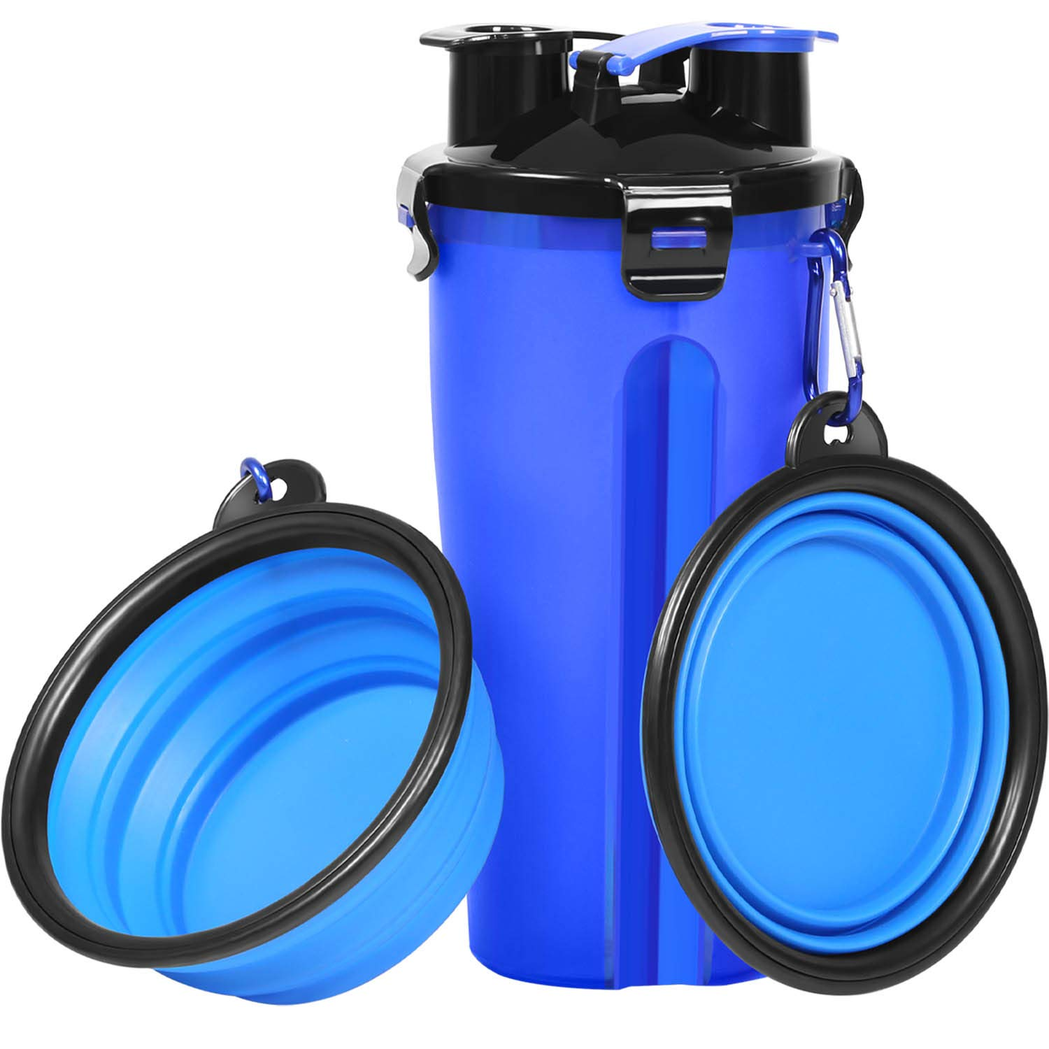 UPSKY Dog Water Bottle Dog Bowls for Traveling Pet Food Container 2-in-1 with Collapsible Dog Bowls, Outdoor Dog Water Bowls for Walking Hiking Travelling … (Blue)