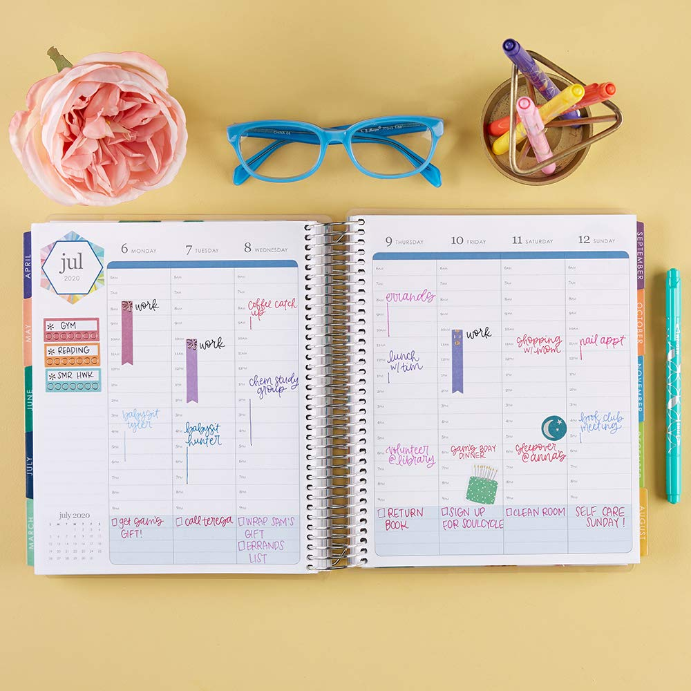 Erin Condren 12-Month July 2019 - June 2020 Coiled LifePlanner - Kaleidoscope Colorful, Hourly (Colorful Layout) by Erin Condren (Image #4)