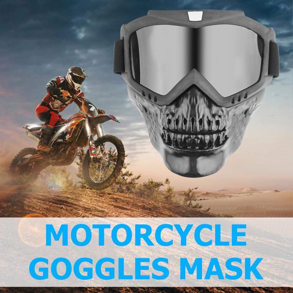 masque modulable t/ête de mort pour demi-casque de moto gris Tuankayuk Lunettes de moto amovibles pour casque de moto