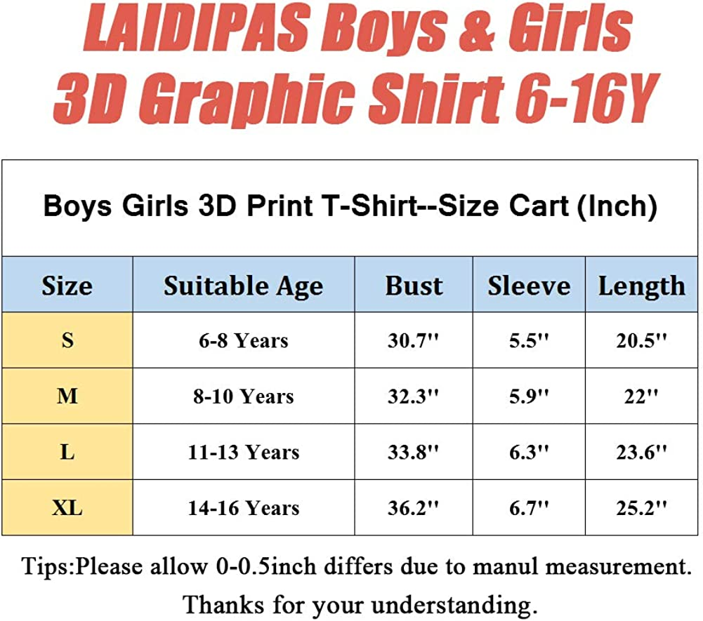 LAIDIPAS Boys Girls 3D Graphic Shirts Cool Crewneck T-Shirt Unisex Short Sleeve Top Tees 6-16 Years