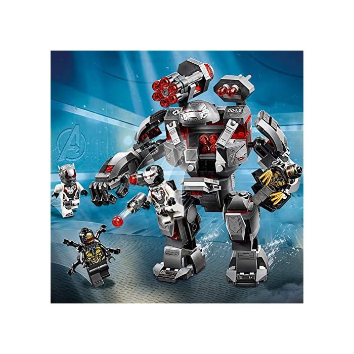 61Ny0SEKowL Este set de superhéroes para construir incluye 4 minifiguras del universo Marvel: Máquina de Guerra, Ant-Man y 2 Outriders. El robot Depredador de Máquina de Guerra cuenta con cabina abatible para una minifigura, cañón rápido de 6 disparos, 2 cañones desmontables, 2 misiles, brazos y piernas articulados, manos prensiles y un compartimento que se abre para guardar munición adicional. Desmonta los cañones y colócalos en las manos y el hombro de la minifigura de Máquina de Guerra.