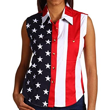 2e27f86bf Woven American Flag Sleeveless Flag Stars Women's Polo Shirt (Small)