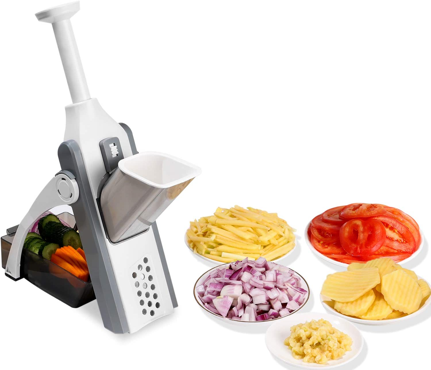 FYINTON Adjustable Slicer Safe Vegetable Cutter Kitchen Food Chopper,Dicer Fruit,French Fry Julinner,Slices,Dices,Grinded Garlic Quick Easy Meal Preparation & Durable for Home Kitchen