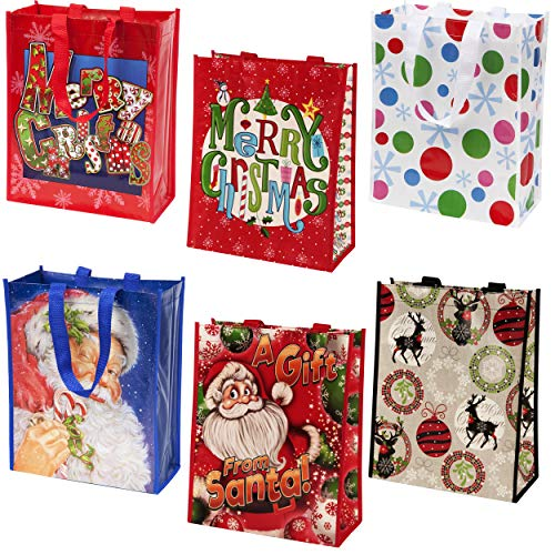 Reusable Christmas Tote Gift Bags With Handles Large Holiday Party Favor Bags, 12 Pack By Gift Boutique (Bags Christmas Reusable Shopping)