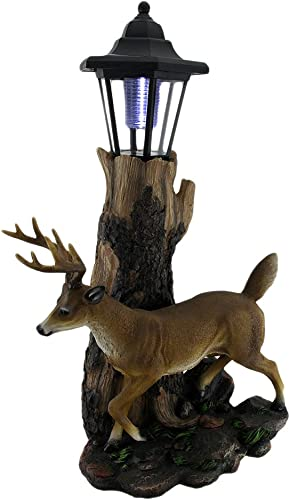 Zeckos Whitetail Deer Sculptural Solar Light Statue