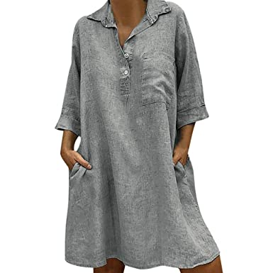 b8a51544f6a18 Amazon.com  ANJUNIE Women s Solid Loose Shirt Dress Turn-Down Collar 3 4  Sleeve Casual Pocket Button Dress  Clothing