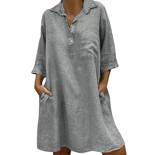 ❤ Vestido Mujer, RETUROM Mujer Casual Boho Verano Estidos Largos Maxi Vestido con Bolsillo: Amazon.es: Ropa y accesorios