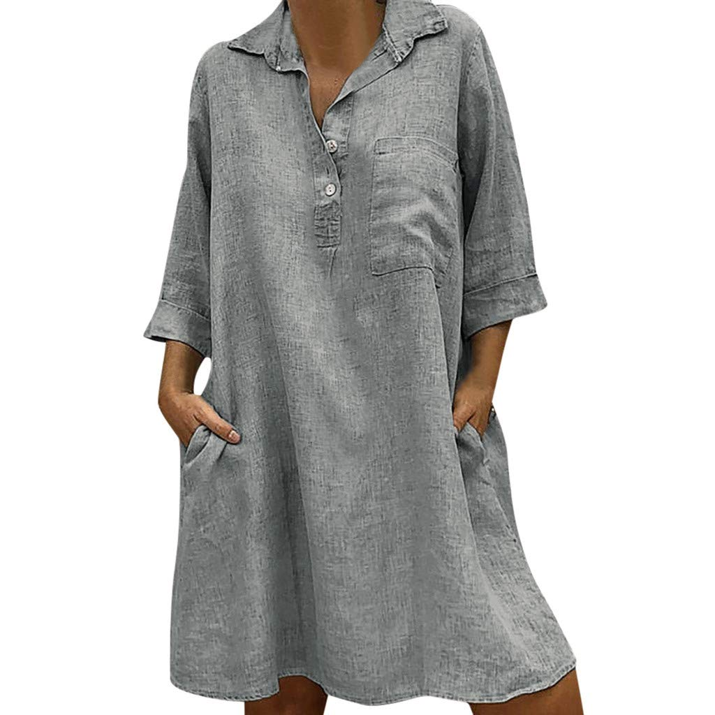 VEZAD Women's Solid Boho Turn-Down Collar Dress 3/4 Sleeve Casual Pocket Button Dress Gray