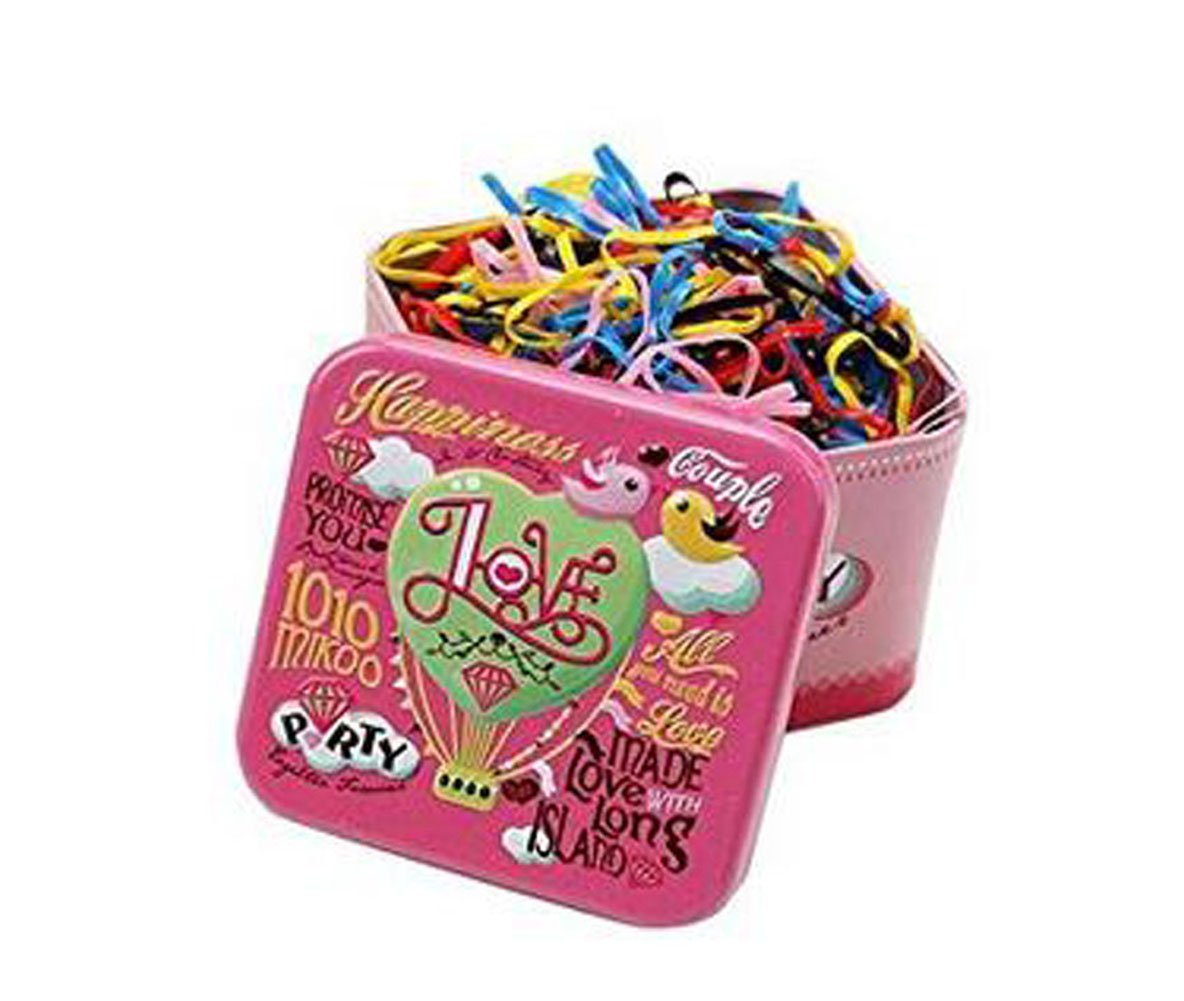 1 Box/700pcs Disposable Multi Candy Color Elastic Rubber Bands Tpu Hair Ponytail Holder Hair Bands Hair Ties with Cute Tin Box for Baby Girls Kids and Adults echo-ove